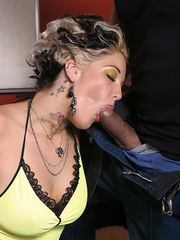 Tatooed Blonde interracial fuck cuckold eats cum